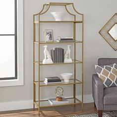 Better Homes and Gardens Nola Bookcase, Gold Finish