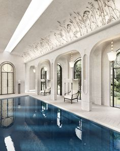 Interior design studio Janine Stone remodelled this pool house for a young family extending their country house Classical Architecture, Interior Architecture, Water Architecture, Contemporary Classic, Contemporary Design, Modern Aesthetics, The Cloisters, Best Spa, Casement Windows