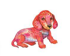Dachshund Puppy // SALE 3 for 2 // tiny dog art print, pet illustration, size 10x8 (No. 54)
