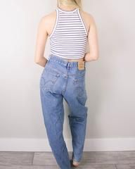 """DETAILS:Era: Estimated 80sMaterial: 100% CottonBest Fits: XSCondition: GreatBrand: Levi Strauss♡ This item is authentic vintage and one-of-a-kind. You will receive the exact item shown in the photos. → All of our items are pre-loved and will have some degree of normal wear. We will do our best to inspect the items and note any flaws.MEASUREMENTS:Measurements are taken with garment laid flat. Please double bust, hips, and waist to get the total measurement around the garment.Waist: 14""""Ris..."""
