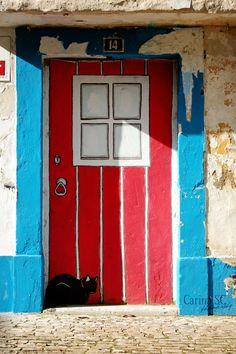 Painted door in Alcobaça, Portugal