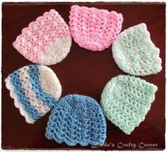 Crochet For Babies This a simple crochet baby hat in preemie and new born sizes, beginning with the same basic crown pattern which I first made for the Pomp. Crochet Preemie Hats, Bonnet Crochet, Crochet Baby Hat Patterns, Crochet Baby Clothes, Newborn Crochet, Crochet Beanie, Baby Patterns, Booties Crochet, Crochet Jacket