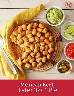 This Mexican twist on classic Tater Tot hot dish is the epitome of comfort! Filled with seasoned ground beef, veggies and topped with tots and Mexican blend cheese, this easy casserole comes together quickly and tastes great served with your family's go-to taco toppings!
