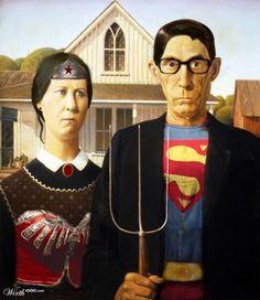 American Gothic: Wonder Woman and Superman American Gothic Painting, American Gothic House, American Gothic Parody, American Art, Grant Wood, Art Grants, Mona Lisa, Famous Artwork, Superhero Design