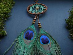 Peacock dream catcher rear view mirror charm by DeiDreamCatchers