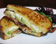 Grilled Brie & Goat Cheese with Bacon and Green Tomato Recipe