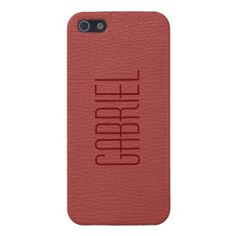 Simple Red Fox Leather Look Monogram iPhone 5 Cases