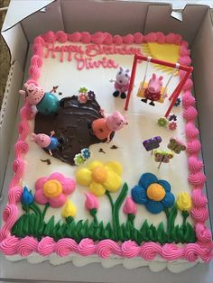 "Costco ""decorated by us"" cake. Costco made the flowers and we made the muddy puddle and put the peppa props on the cake."