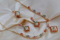 Selling on vFLea.com - Coral, Ruby, Sapphire, Emerald and Pearl Necklace - $85