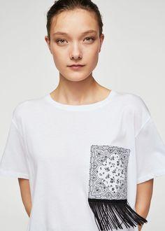 Fransen Baumwoll T-Shirt - Frau Look Office, Short Tops, Sweater Shirt, Refashion, Fashion Outfits, Fashion Trends, Fashion Fashion, Diy Clothes, Fashion Online