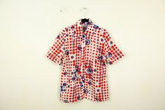 1970s Allover Poly Print Pokadot Mixed Print Button Down Shirt / Blouse / Pykettes / Medium / Dots / Circles / Abstract / Red / White / Blue by blobbyboysvintage on Etsy