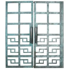 Spectacular Pair of Large Heavy Geometric Steel Gates | From a unique collection of antique and modern doors and gates at https://www.1stdibs.com/furniture/building-garden/doors-gates/