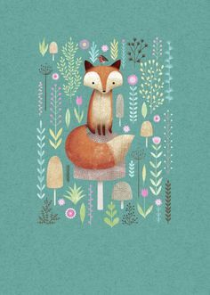 bellasecretgarden:  (via Pin by Erin Russek on Illustration | Pinterest) I love the background color and texture and how cute is this fox among the pretty flowers?:)