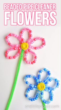 Best 12 These beaded pipe cleaner flowers are SO PRETTY and they're really easy to make! This is such a fun kids craft and a great activity to develop fine motor skills. Each flower takes less than 10 minutes to make using simple craft supplies. Mothers Day Crafts For Kids, Spring Crafts For Kids, Easy Crafts For Kids, Toddler Crafts, Kids Diy, Summer Ideas Kids, Simple Craft Ideas, Summer Crafts For Preschoolers, Kids Arts And Crafts