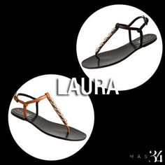 Sandalias planas Laura piel negra MAS34 http://www.mas34shop.com/tienda/laura-piel-negra-2/ y Sandalias Laura piel marrón MAS34 http://www.mas34shop.com/tienda/laura-piel-marron-2/