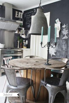 Industrial kitchen with chalkboard wall, killer table, and use of mixed chairs