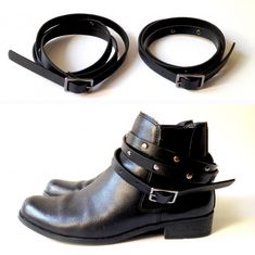 so easy! wrap a thin studded belt around your boot multiple times and viola!