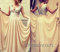 2015 cute apricot v-neck sparkly long beaded chiffon prom dress for teens, ball gown, grad dress #promdress