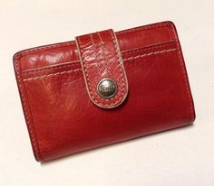 FOSSIL Leather RED Wallet Card I.D Case Holder Coin Purse Clutch | eBay