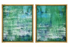 "Abstract Greens and Blues      21.75"" x 25.75"" each"