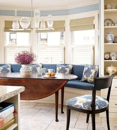 .. Classic..Roman Shades, Cafe Plantation Shutters, Gorgeous Gateleg Table & Hanging Fixture..