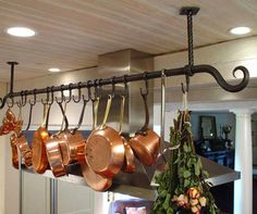 Blacksmith : Custom Designed Kitchen Pot Racks and Shelves : Hand Forged Steel Diy Kitchen Shelves, Kitchen Redo, New Kitchen, Kitchen Remodel, Pot Hanger Kitchen, Pot Rack Hanging, Pot Hooks, Hanging Pots, Cocina Diy