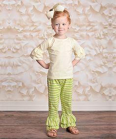 Lime Green Stripe Ruffle Pants - Infant, Toddler & Girls