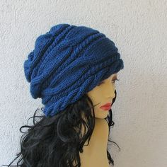 Women Hat Slouchy Hat Slouch Beanie Cable Hand by AlbadoFashion, $38.00