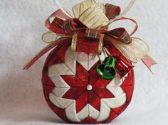 Quilted Christmas Ornament no sew red and by KCFabricOrnaments, $15.00