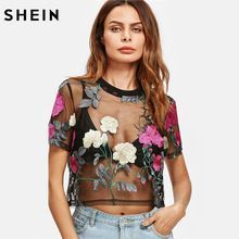 Cheap mesh blouse, Buy Quality womens tops and blouses directly from China blouse black Suppliers: SHEIN Flower Embroidered Mesh Blouse Summer Womens Tops and Blouses Black Round Neck Short Sleeve Sexy Crop Top Sheer Mesh Top, Mesh Crop Top, Cropped Tops, Embroidered Blouse, Embroidered Flowers, Floral Embroidery, Mesh T Shirt, Summer Shirts, Look Fashion