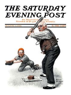 Gramps at the Plate Saturday Evening Post Cover, August Giclee Print by Norman Rockwell Norman Rockwell Art, Norman Rockwell Paintings, Old Magazines, Vintage Magazines, The Saturdays, Journal Vintage, Jc Leyendecker, Magazin Covers, Pin Up