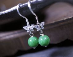 Emerald Jade Earrings - Natural Green Jade Dangle Sterling Silver CZ Butterfly