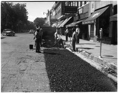 Century-old brick paving unearthed during road construction in downtown Ann Arbor Brick Paving, Road Construction, Washington Street, Old Bricks, Brick Road, The Old Days, Ann Arbor, Custom Trucks, Rigs