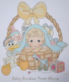 Precious Moments - Baby Bundle from Above - FINISHED Counted Cross Stitch