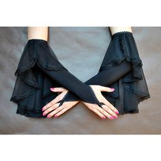Elegant GOTHIC VAMPIRE Victorian Burlesque Evening Glamour long GLOVES... (80 MYR) ❤ liked on Polyvore featuring accessories, gloves, lace gloves, black fingerless gloves, fingerless gloves, long gloves and black evening gloves