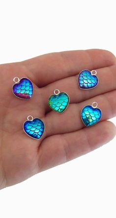heart shaped mermaid scale charms, mermaid scales in shimmery blue, pink, purple and green. Set of 5 for only $2.50