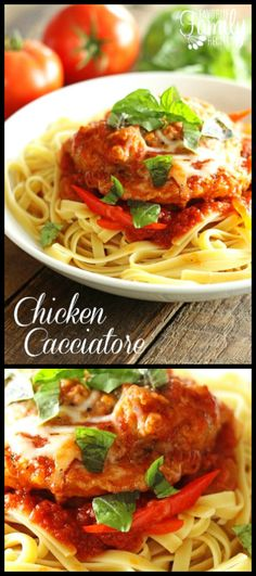 Chicken Cacciatore sounds fancy and complicated but it is actually really easy to make and SO delicious! You are going to love this Italian pasta recipe! via @favfamilyrecipz