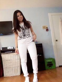 White on white, white jeans, white converse