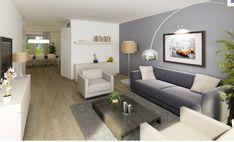 Mooie grijze muur - strakke bank - plank aan muur - vloer - lovely