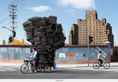 As cargas impossíveis dos ciclistas chineses