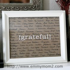 "This DIY ""grateful"" sign could be customized for your own family's thanksgiving celebration. #thanksgiving #thanksgivingdecor"