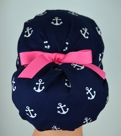 Womens Perfect Fit Ponytail Surgical Scrub Hat Cap- Anchors Away 82a664fa32a2