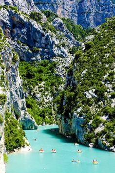 In St Croix Lake, Les Gorges du Verdon, Provence, France. The Gorge du Verdon is an amazing drive in western Provence. We didn't get to go on the water, but look up Castillon as the main entry point. Places Around The World, Oh The Places You'll Go, Places To Travel, Around The Worlds, Beautiful Places To Visit, Amazing Places, Vacation Destinations, Dream Vacations, Vacation Spots