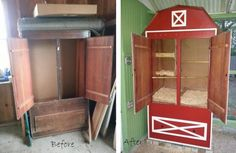 Dusty Old Armoire Is Transformed Into An Adorable Barn-Shaped Chicken Coop – LittleThings