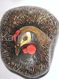 STONEIMALS: This is a hand painted stone as a hen ready for purchase.    Hand painted stones. Painted with acrylics and coated with a protective