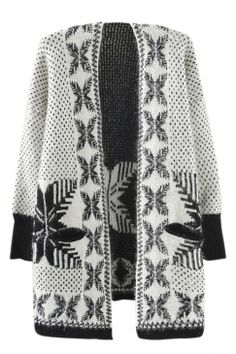 White Ladies Snowflakes Patterned Mohair Cardigan Sweater Coat on sale at reasonable prices, buy cheap White Ladies Snowflakes Patterned Mohair Cardigan Sweater Coat online at PinkQueen.com now!