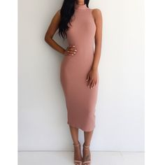 Midi Bodycon Ribbed Dress  Bodycon sweater dress features high neckline, ribbed sweater material, midi length and beautiful pink salmon hue. NWOT. Boutique Dresses Midi