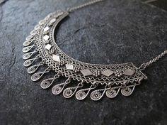 Jewelry, Silver necklace,Filigree silver necklace, Yemenite necklace, Ethnic necklace, Israel jewelry by MorSilverJewelry on Etsy https://www.etsy.com/listing/180378341/jewelry-silver-necklacefiligree-silver