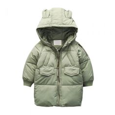Cute Unisex Toddler Hooded Down Sweater Warm Winter Outerwear Green