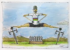 Cross training with Peter Sagan | Original Art by Michael Valenti